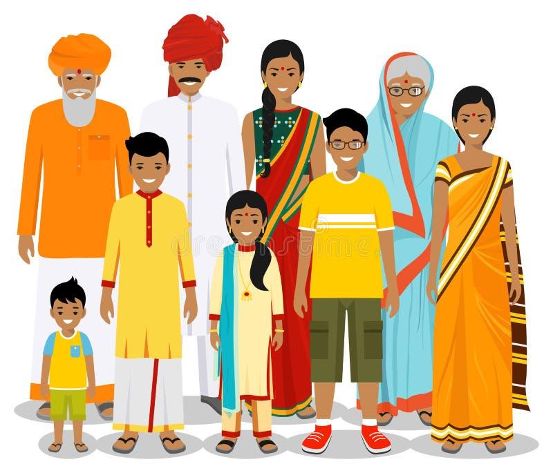 Famille et concept social Générations indiennes de personne à différents âges Placez des personnes dans des vêtements nationaux t illustration stock