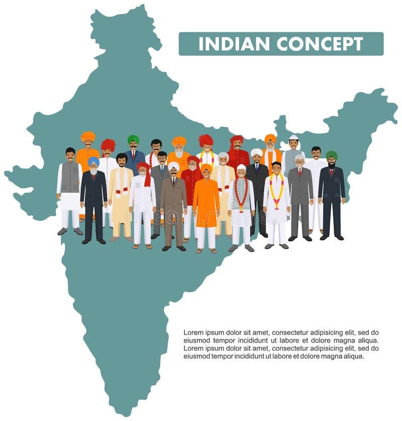Famille et concept social Jeune indien de groupe, adulte et personnes supérieures se tenant ensemble dans différents vêtements na illustration de vecteur