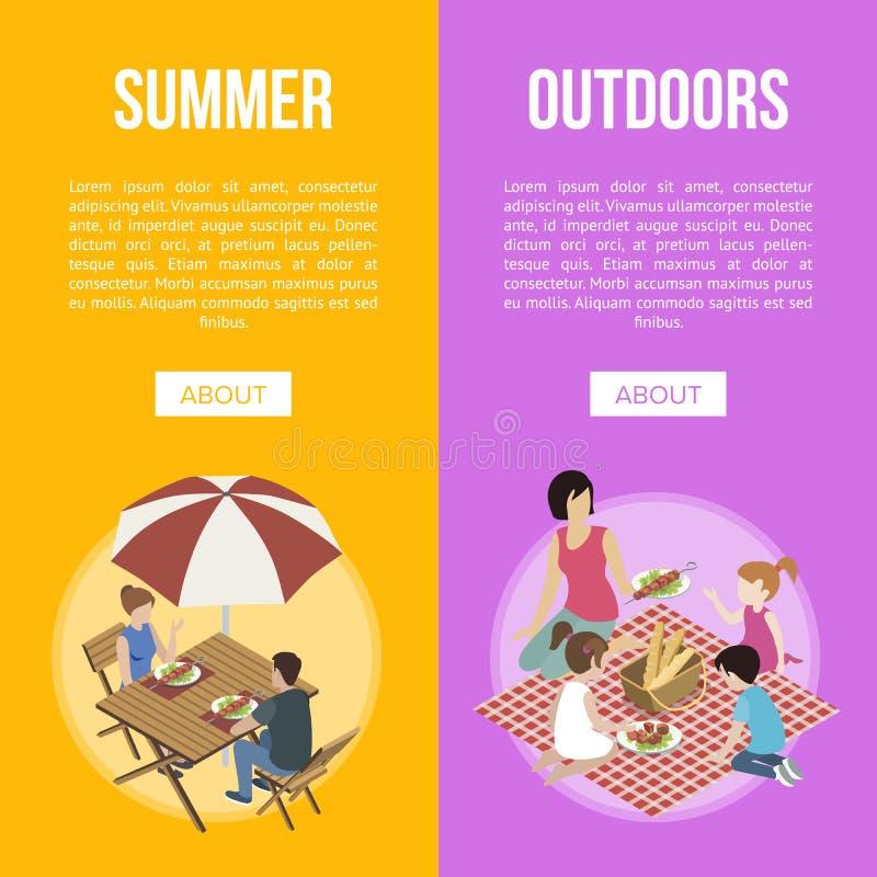 Famille et couples sur le barbecue illustration de vecteur