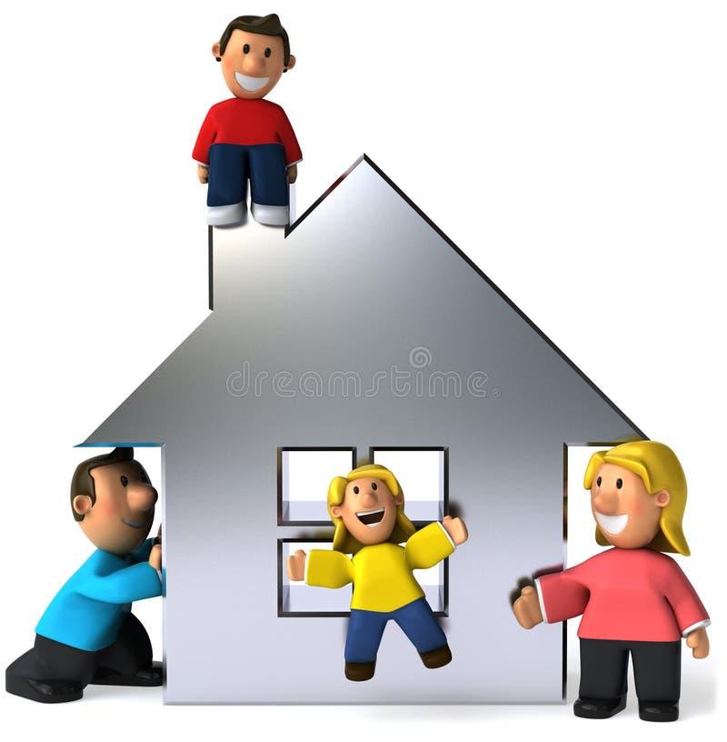 Famille et maison illustration stock