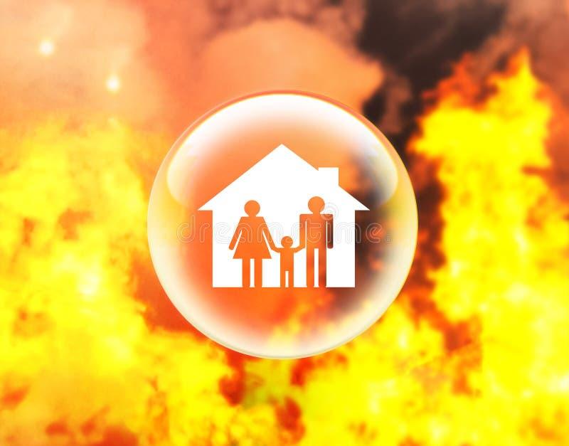 Famille et maison dans la boule de cristal sur le feu illustration libre de droits