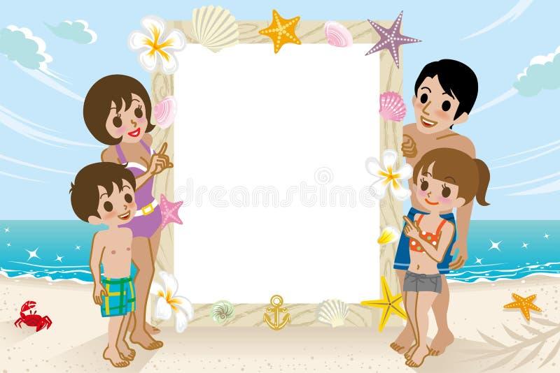 Famille et table des messages de vêtements de bain en plage illustration de vecteur