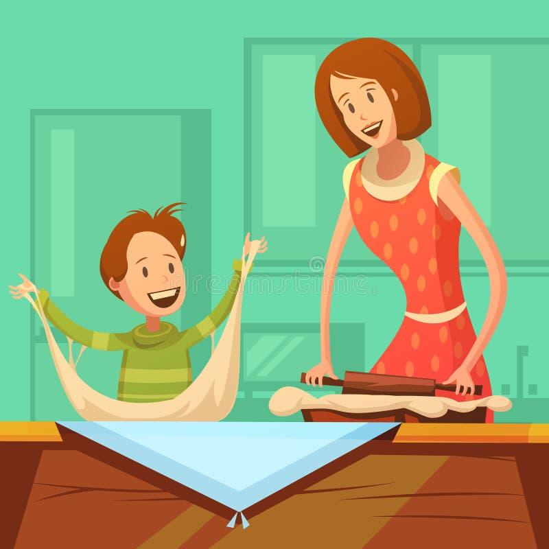 Famille faisant cuire l'illustration illustration de vecteur
