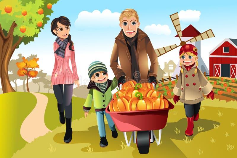 Famille faisant la correction de potiron illustration stock