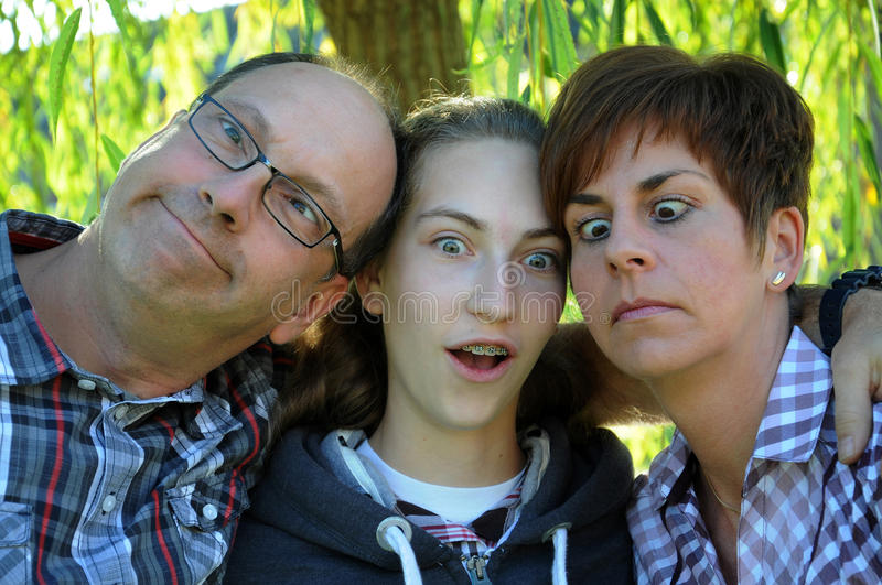 Famille folle image stock