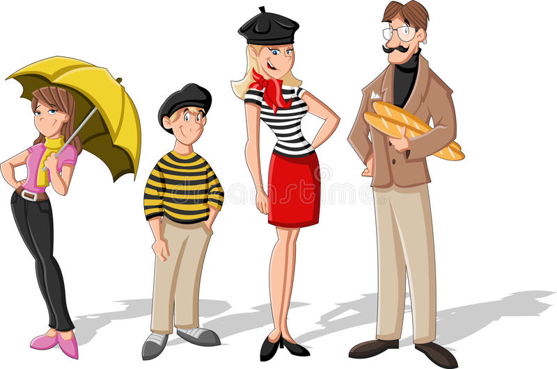 Famille française de bande dessinée de mode illustration de vecteur