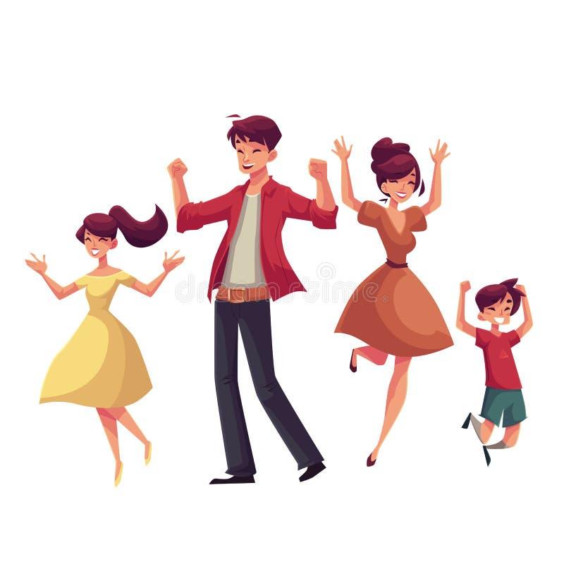Famille gaie de style de bande dessinée sautant du bonheur illustration stock