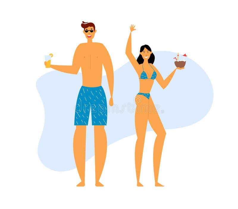 Famille heureuse à la partie de plage Jeune homme et femme de sourire appréciant les cocktails exotiques sur le bord de la mer Vo illustration libre de droits