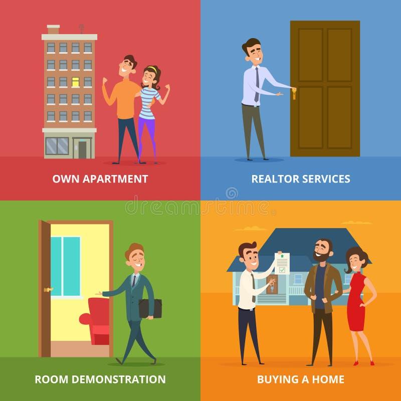 Famille heureuse achetant des bâtiments d'immobiliers illustration stock