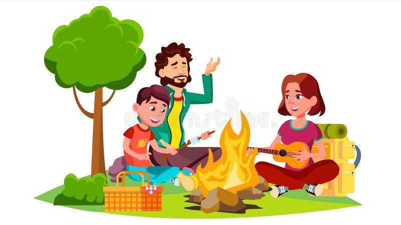 Famille heureuse avec des enfants s'asseyant autour du vecteur de feu de camp Illustration d'isolement illustration libre de droits