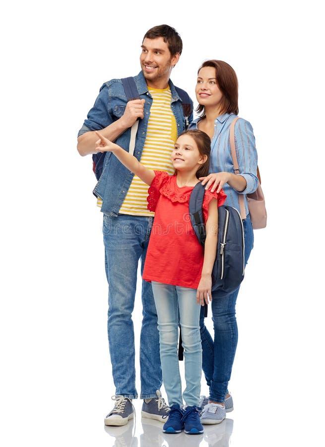 Famille heureuse avec des sacs de voyage photos libres de droits