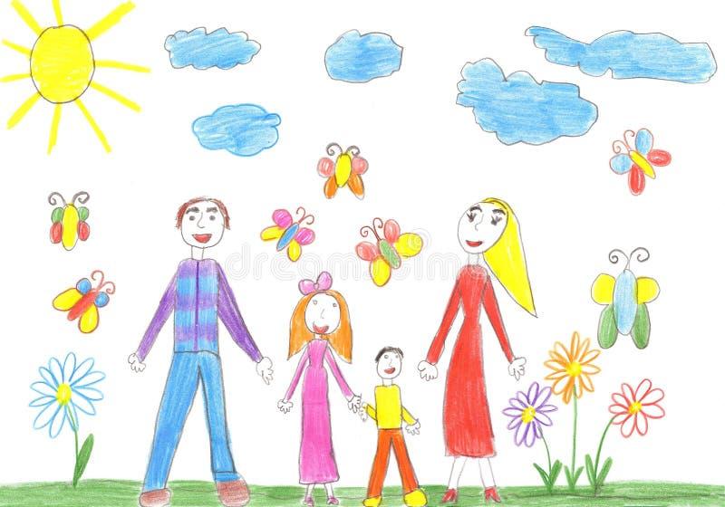 Famille heureuse avec deux enfants - frère et soeur illustration stock