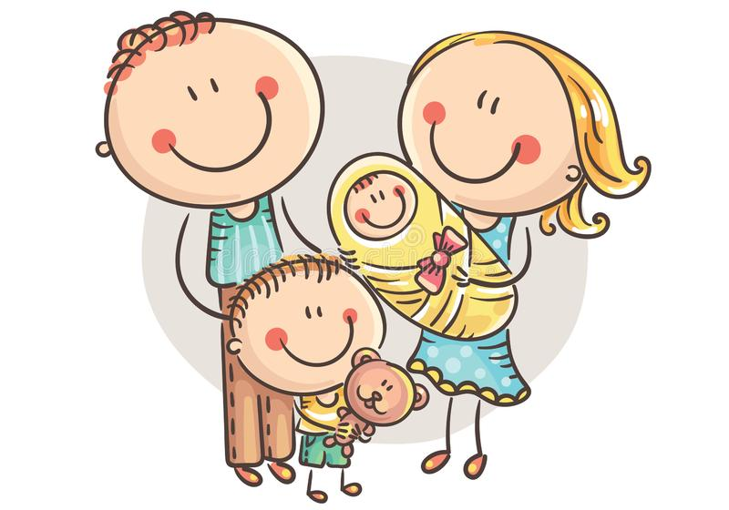 Famille heureuse avec deux enfants, graphiques de bande dessinée illustration libre de droits