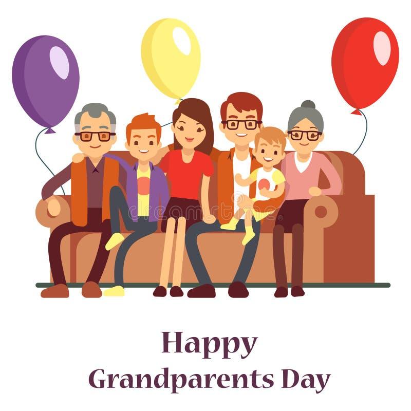 Famille heureuse avec la grand-mère et le grand-père Affiche de jour de grands-parents avec des personnes de personnage de dessin illustration de vecteur