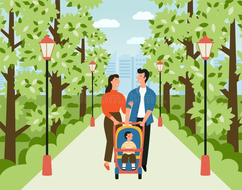Famille heureuse avec la poussette de bébé en parc Promenade d'homme, de femme et d'enfant le long de l'allée dans le jardin de v illustration de vecteur