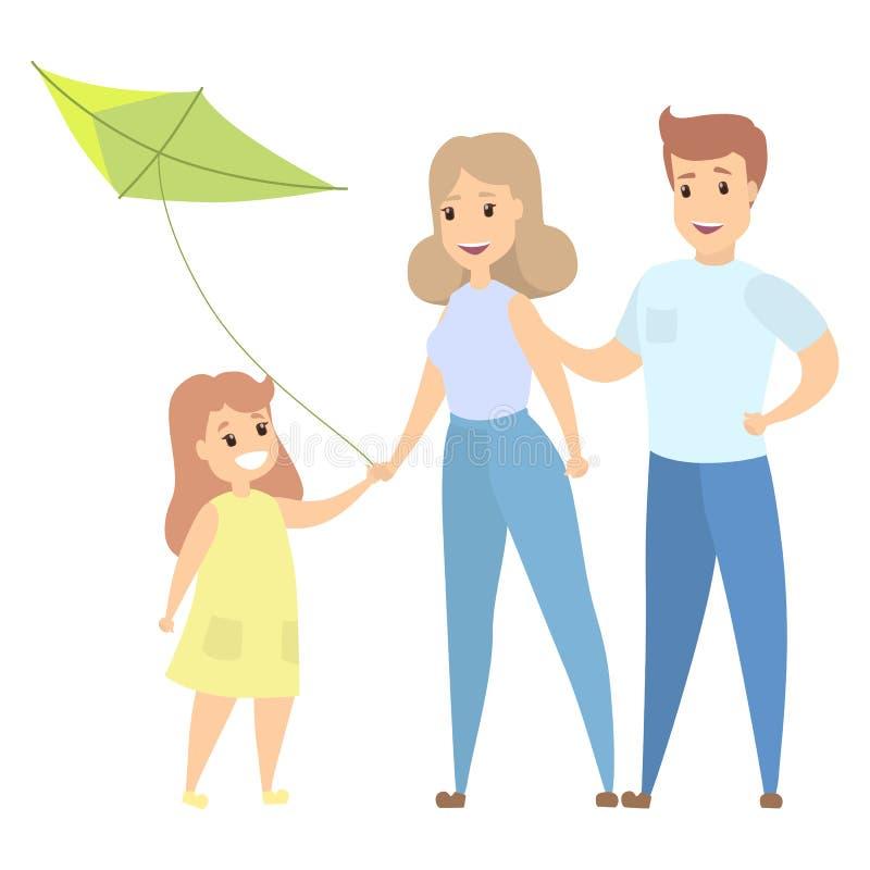 Famille heureuse avec le cerf-volant illustration de vecteur