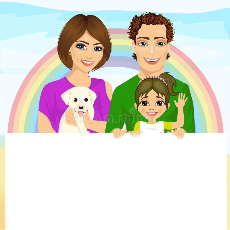 Famille heureuse avec le chien tenant un panneau d'affichage vide blanc devant l'arc-en-ciel illustration de vecteur