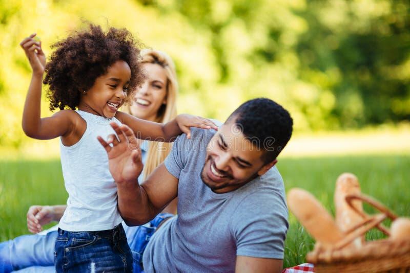 Famille heureuse ayant le temps d'amusement sur le pique-nique photo libre de droits