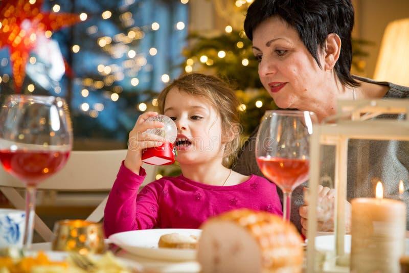 Famille heureuse célébrant Noël image libre de droits
