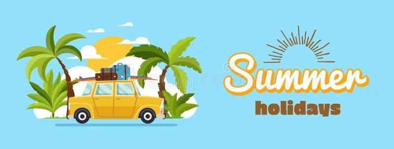 Famille heureuse conduisant dans la voiture des vacances de week-end, vacances d'été, vacances d'été de planification, voyage en  illustration de vecteur