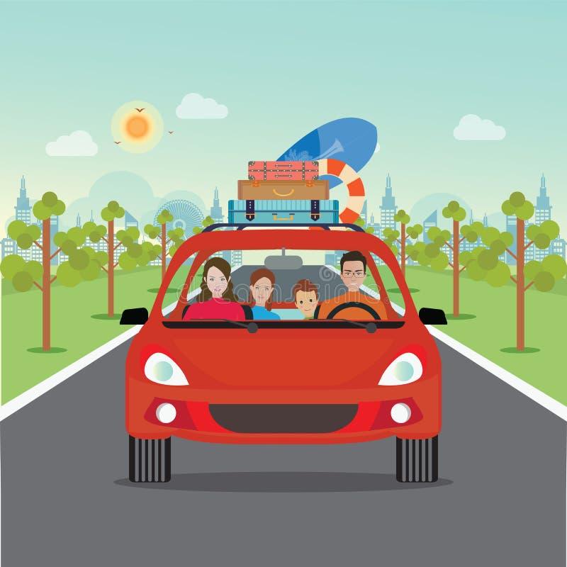 Famille heureuse conduisant dans la voiture rouge des vacances de week-end illustration libre de droits