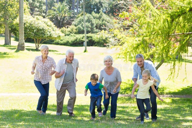 Famille heureuse courant en parc images libres de droits