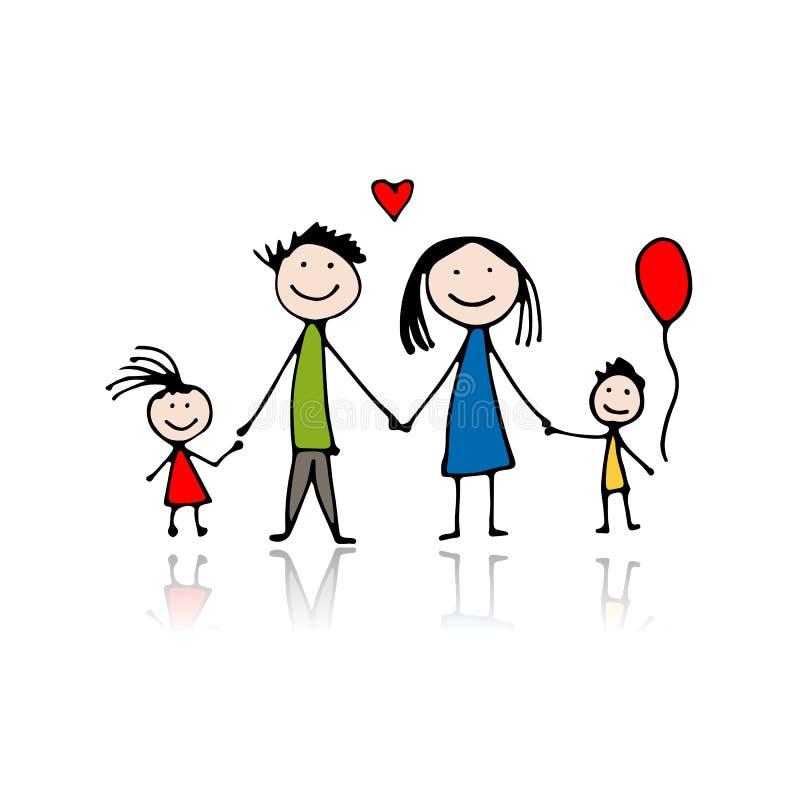 Famille heureuse, croquis pour votre conception illustration de vecteur