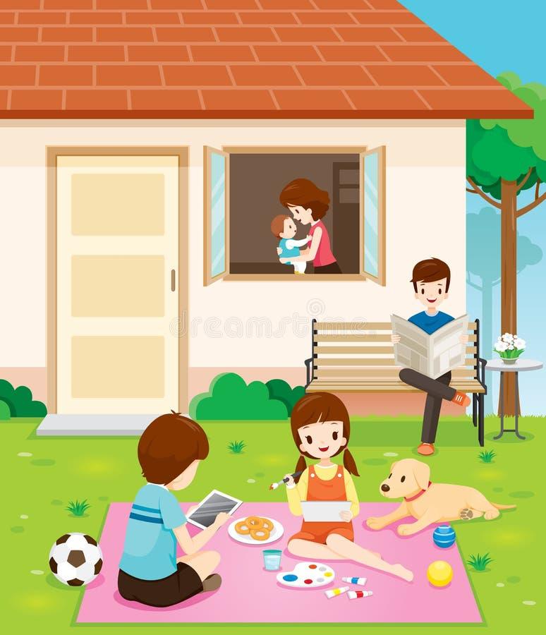 Famille heureuse détendant avec des activités à leur maison illustration stock