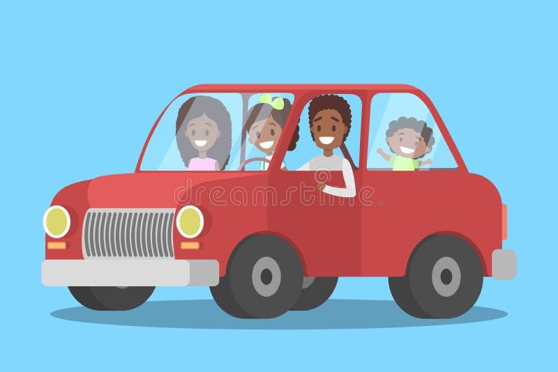 Famille heureuse d'afro-américain dans la voiture illustration stock