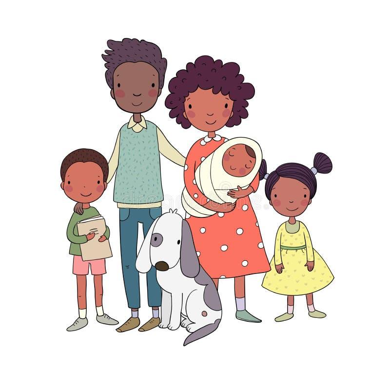 Famille heureuse d'afro-américain Parents et enfants Papa, maman, fille, fils et bébé mignons de bande dessinée illustration de vecteur