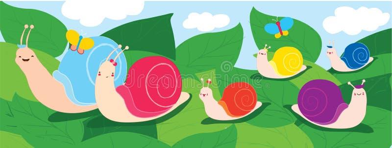 Famille heureuse d'escargot Parents avec quatre enfants marchant sur des feuilles Émotions de joie et de bonheur Utilisation à ti illustration stock
