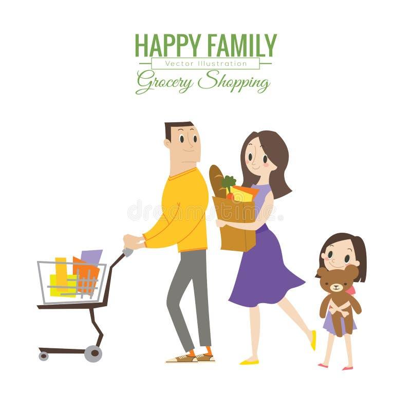 Famille heureuse dans l'épicerie avec le caddie illustration stock