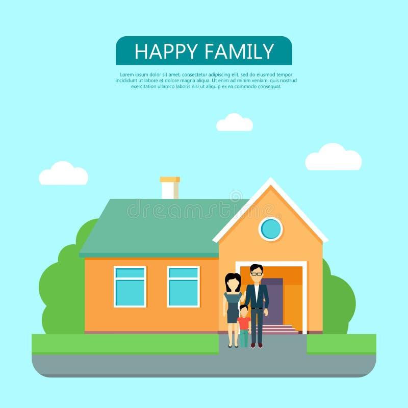 Famille heureuse dans la cour de leur Chambre illustration de vecteur