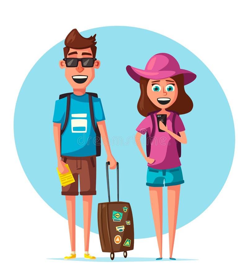 Famille heureuse dans le voyage Voyage des personnes Illustration de vecteur de dessin animé illustration stock