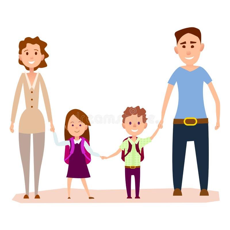 Famille heureuse de bande dessinée avec la petite illustration d'enfants illustration stock