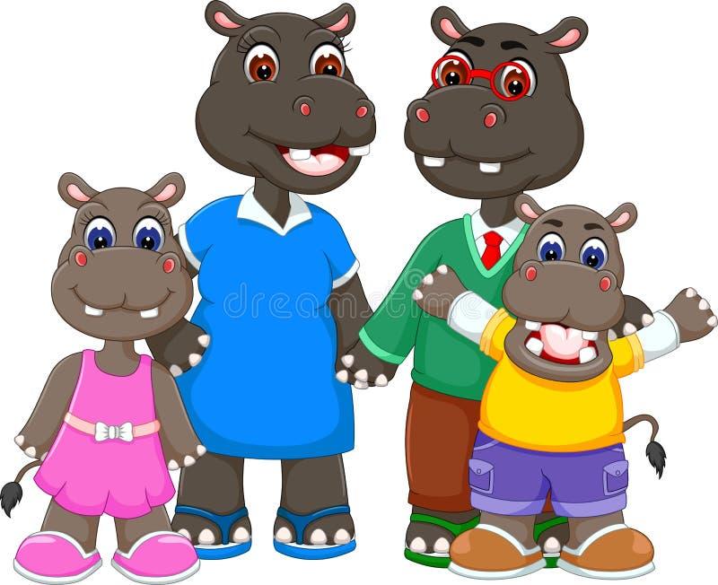Famille heureuse de bande dessinée d'hippopotame illustration stock