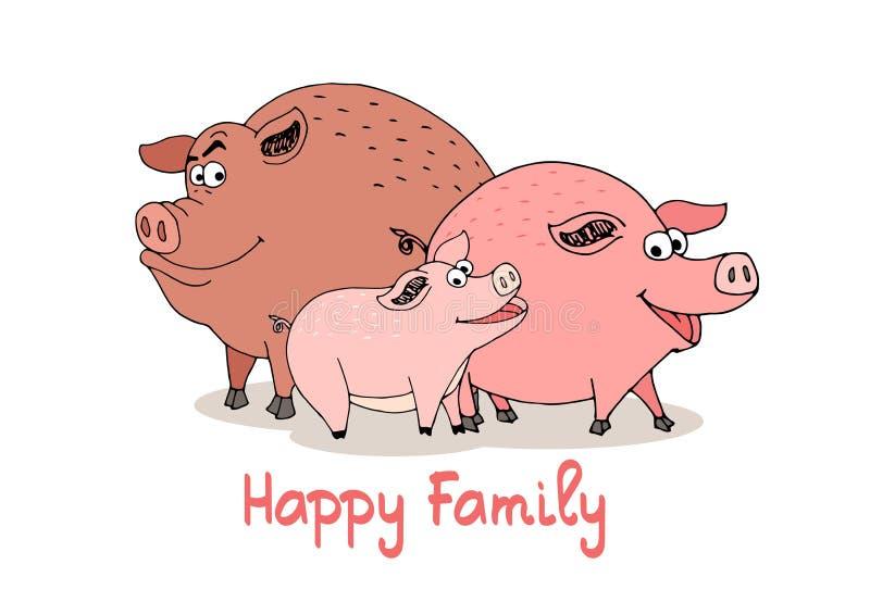 Famille heureuse des porcs de bande dessinée d'amusement illustration libre de droits