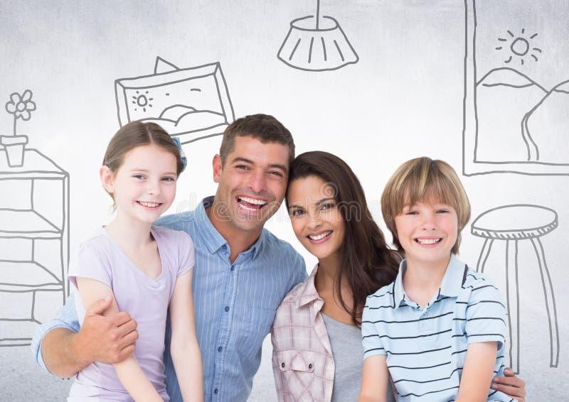 Famille heureuse devant les dessins à la maison illustration libre de droits