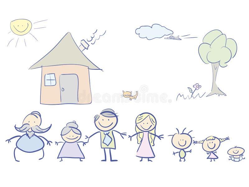Famille heureuse en couleurs illustration stock