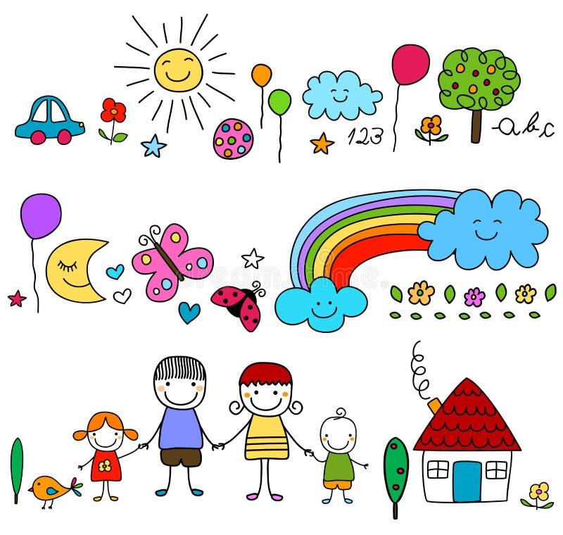 Famille heureuse et éléments mignons de nature illustration stock
