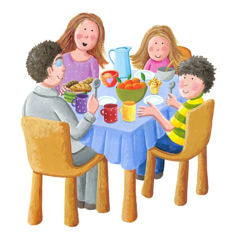 Famille heureuse mangeant le petit déjeuner illustration libre de droits