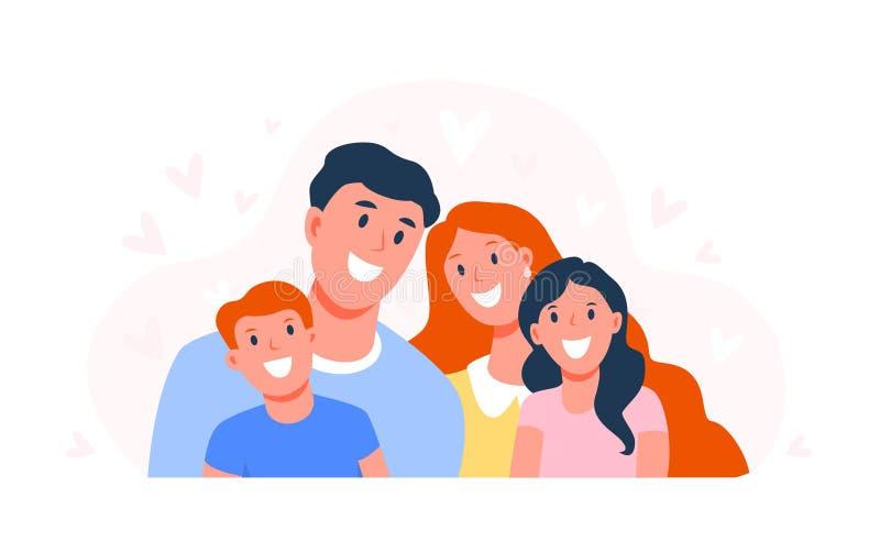 Famille heureuse Parents avec enfants Papa, maman, fils et fille sourient Les visages heureux des membres de la famille Plat illustration stock
