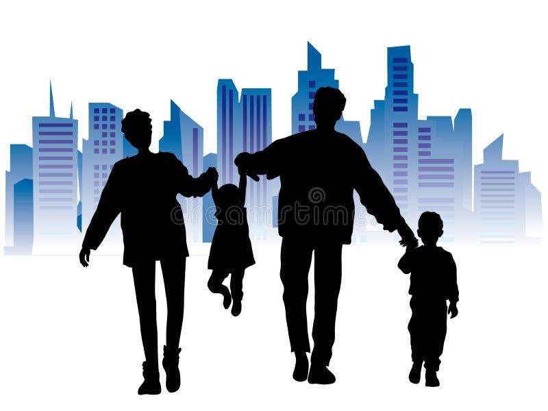 Famille heureuse, paysage urbain illustration de vecteur