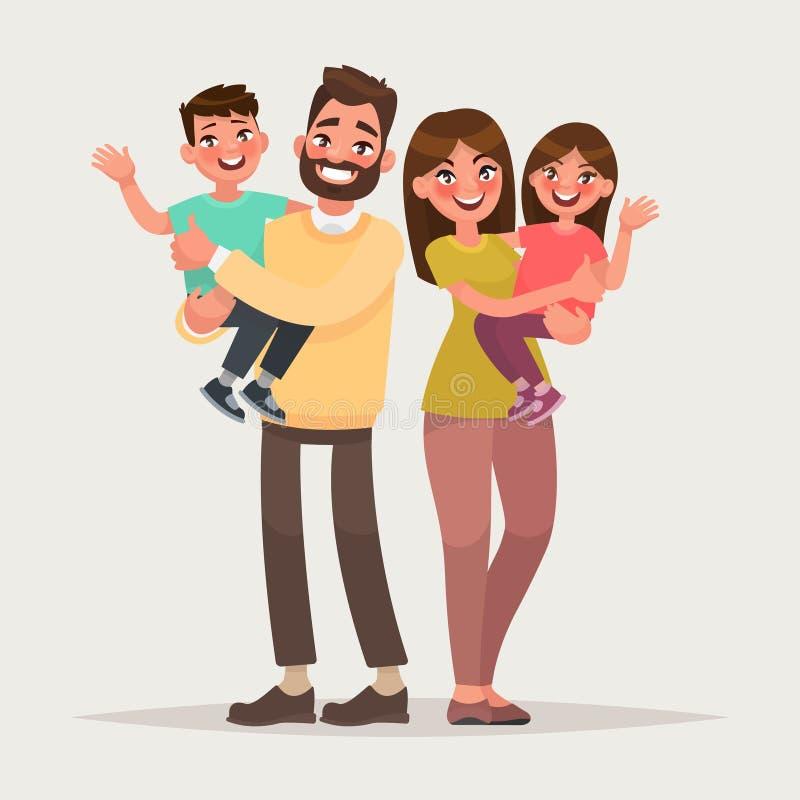 Famille heureuse sur le fond d'isolement Enfants de prise de parents en Th illustration stock
