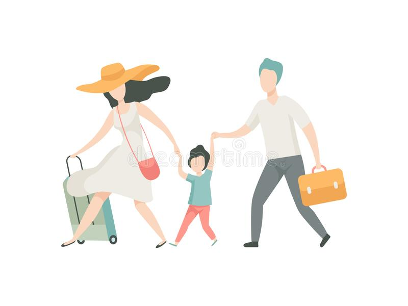 Famille heureuse voyageant ainsi que les valises, le père, la mère et le fils allant sur l'illustration de vecteur de vacances  illustration de vecteur