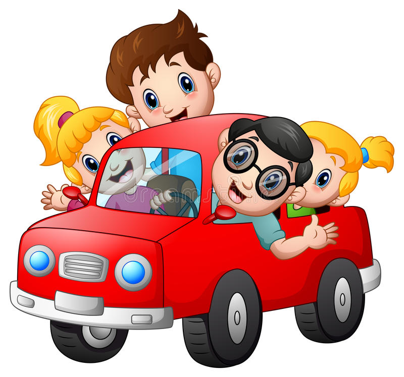 Famille heureuse voyageant avec la voiture illustration de vecteur