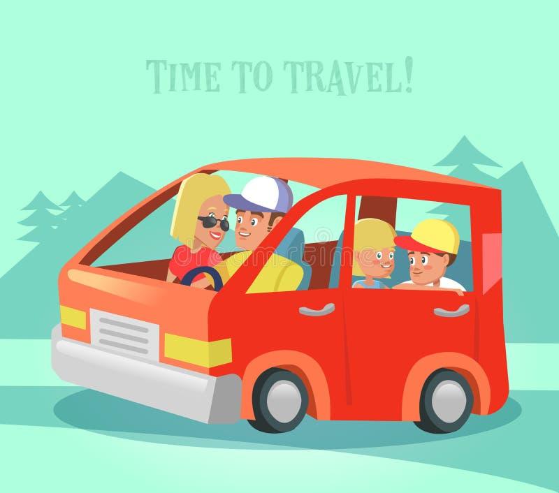 Famille heureuse voyageant en voiture Heure de se déplacer Vacances d'été illustration stock