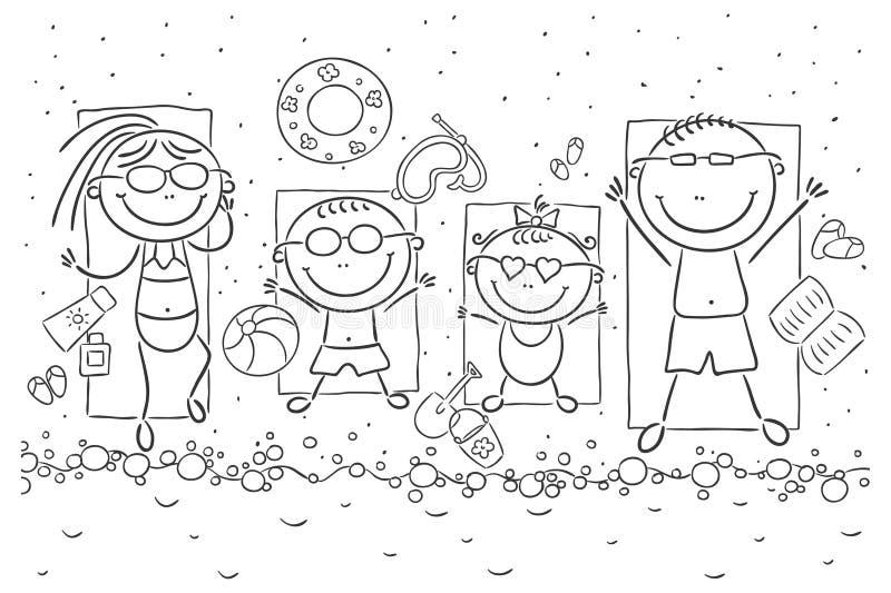 Famille heureux au bord de la mer illustration de vecteur