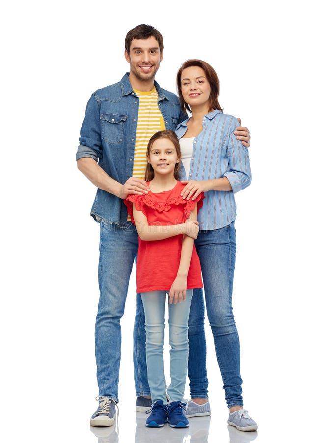Famille heureux au-dessus du fond blanc image stock