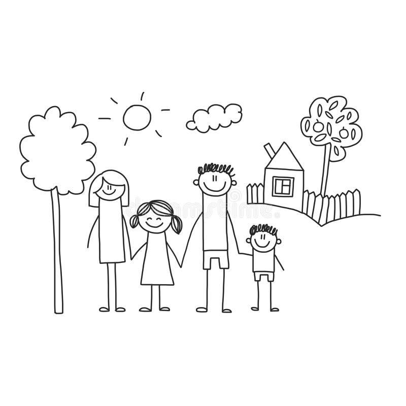 Famille heureux avec des enfants Enfants dessinant l'illustration de vecteur de style Mère, père, soeur, frère illustration de vecteur
